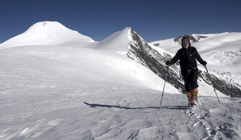 Svend Carron arriving on plateau, close to top of Hindu Himal. Behind are Athahra Saya Khola Himal (left), on Tibetan border, and Lilia Peak.