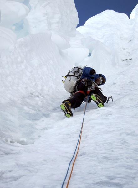 Kellogg climbing through runnels and flutes on first ascent of Pangbuk Ri.