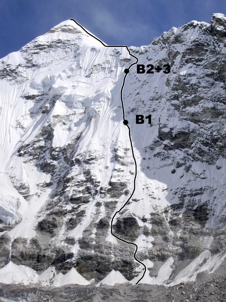 Spanish route on west face and southwest ridge of Cho Polu. Bivouac sites marked.