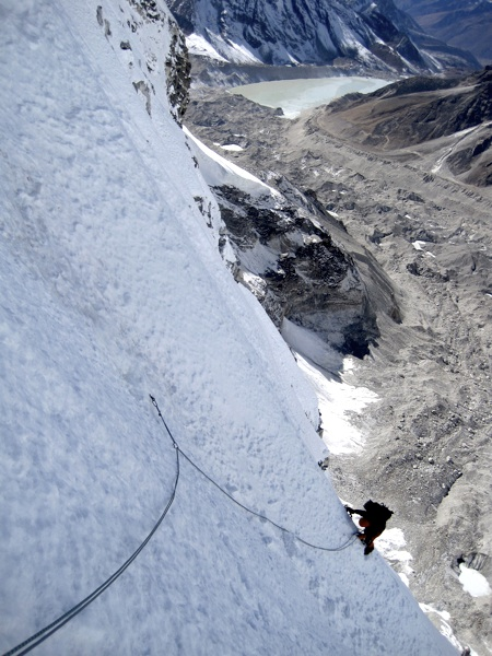Elena Parga on day one of first ascent of Cho Polu's west face. Lhotse Shar Glacier is directly below, with Imja Tsho glacial lake in background.