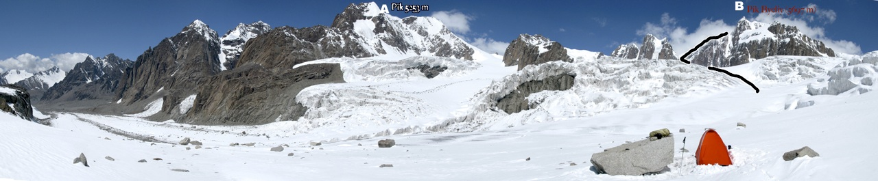 Panorama, from southwest (left) to northeast (right), from camp on an unnamed glacier south of main divide of Western Kokshaal-too. (A) Pik 5,253m. (B) Pik Byeliy, with attempted route marked. Top part of southwest spur, attempted in 2000, is rock pillar falling directly from summit.