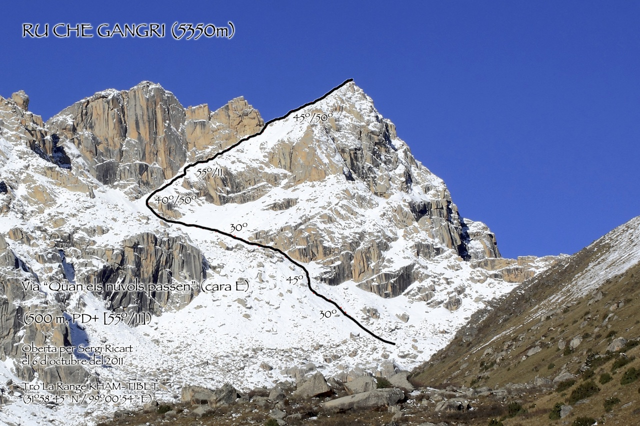 Ru Chen Gangri from north, with ascent route.