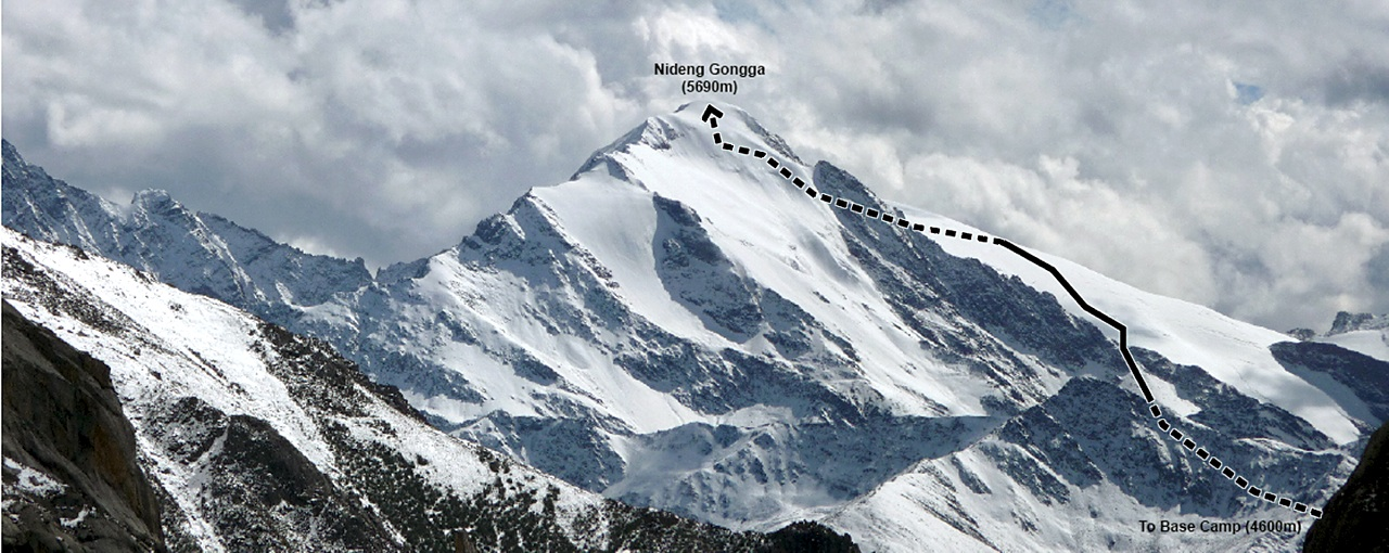 Nideng Gongga from north, with ascent route marked.