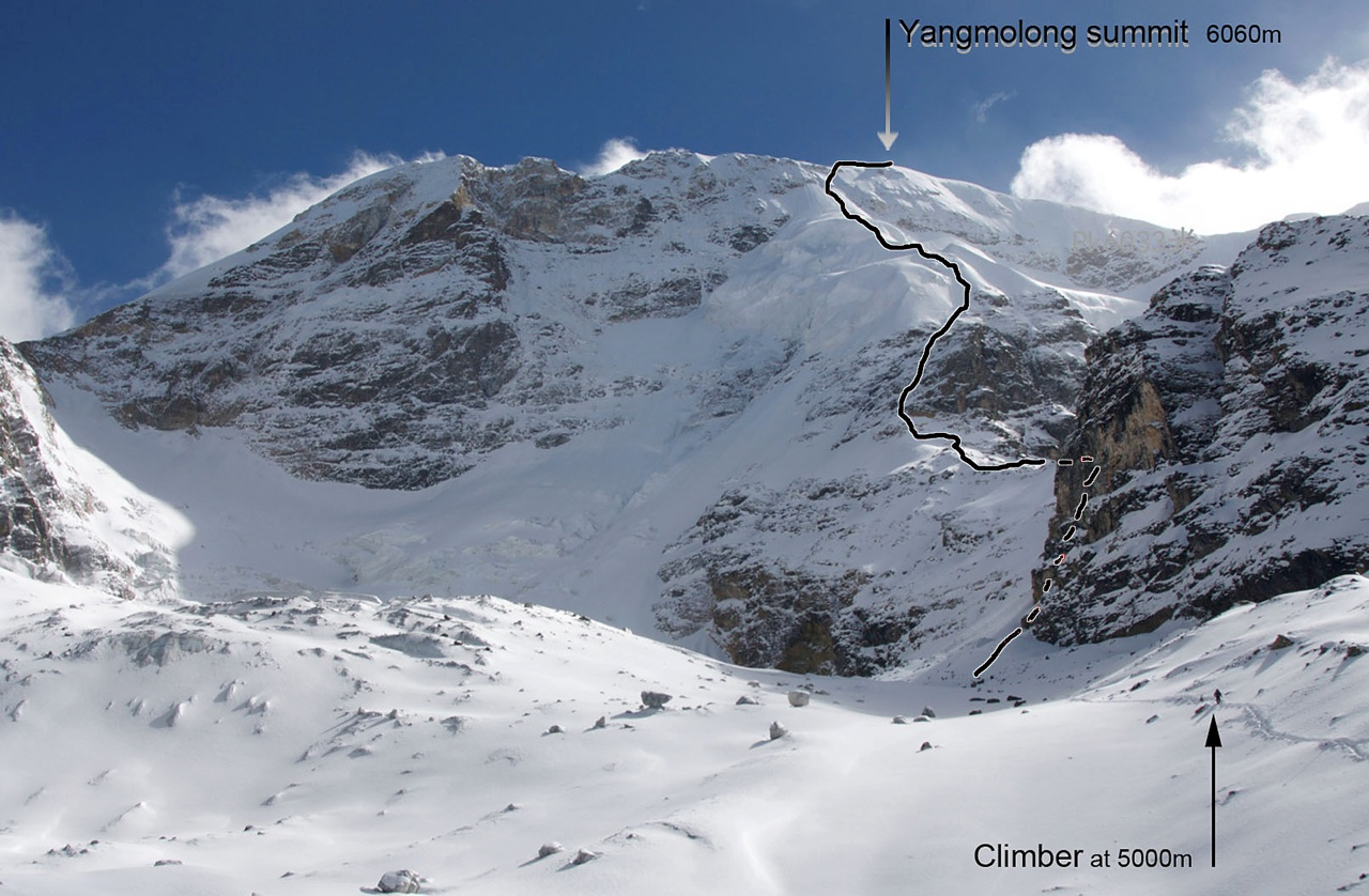 North face of Yangmolong, from 5,000m on the approach, showing American-Chinese ascent.