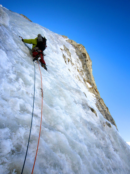 Gibisch on penultimate pitch of gray ice before ridge, best ice encountered on the face.