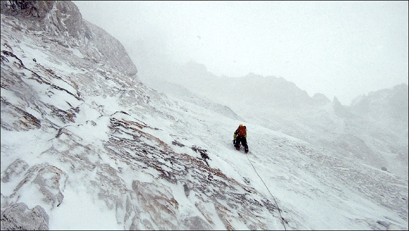 Hammered by spindrift during attempt on Edgar's west face.