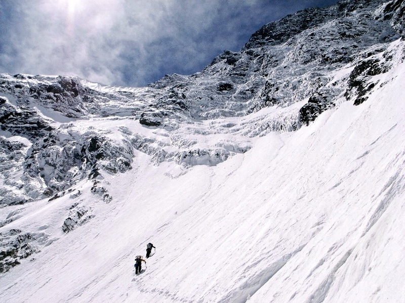 In lower couloir of Daddomain's east face.