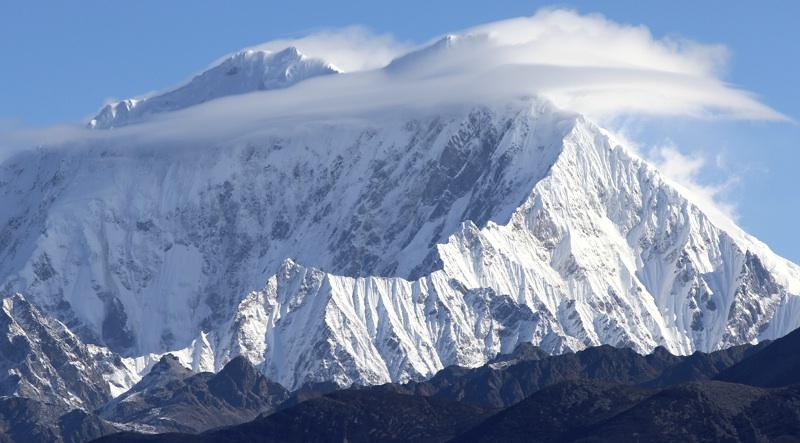 Southwest face of Tiba Kangri (6,846m) in Gyala Peri Group.