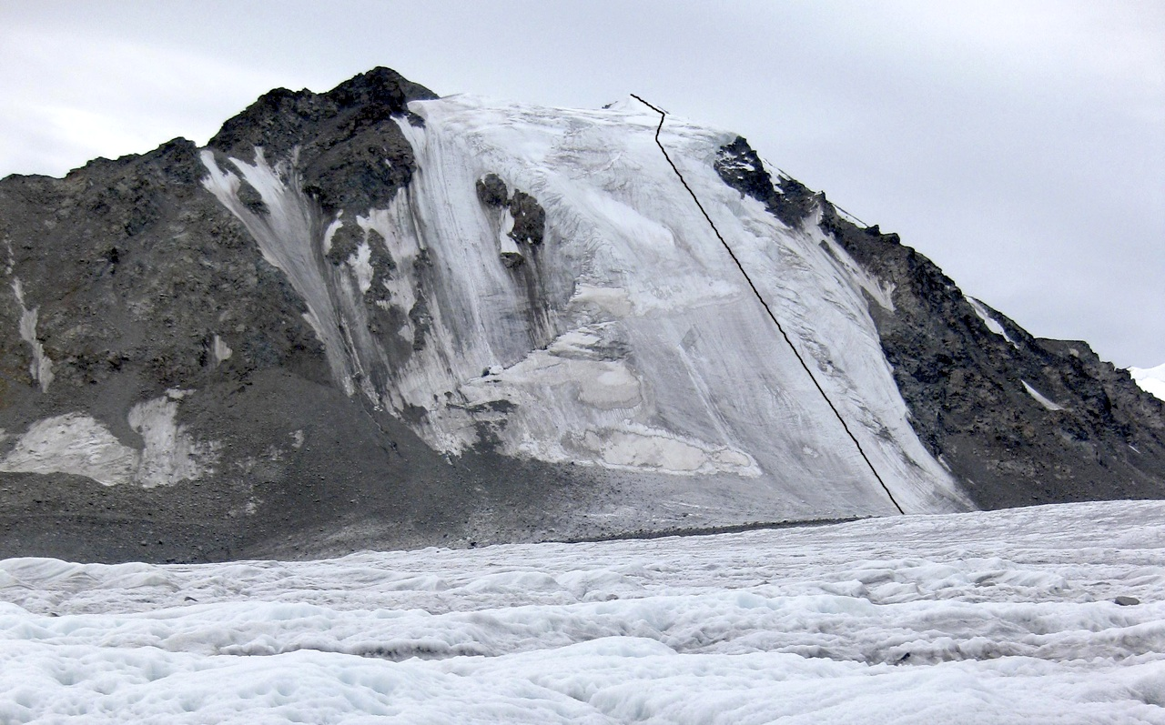 Naran in July 2011, showing Direct Route climbed on north face.