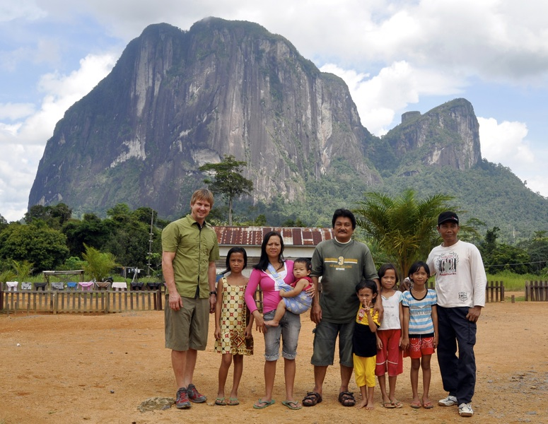 Mike Libecki with locals in front of Batu Daya.
