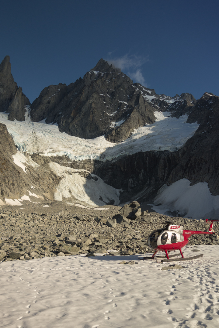 The smash-and-grab approach vehicle of choice. The new route ascends the unseen side of Mt. Burkett.