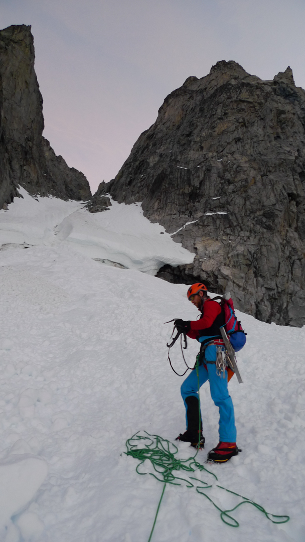 Doug Shepherd below the Burkett Needle-Mt. Burkett col.
