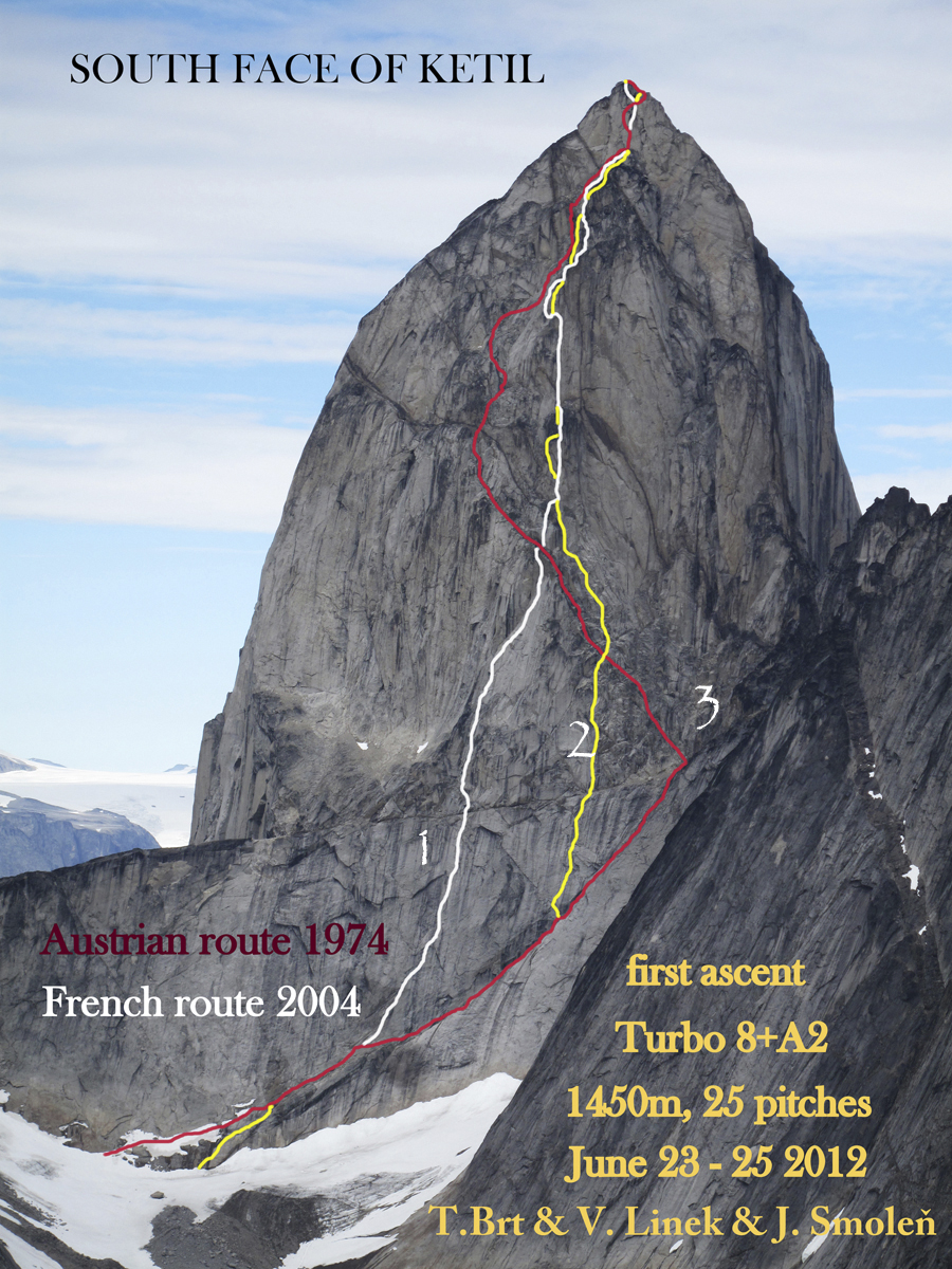 South face of Ketil. (1) Clémence de l'Ogre (22 pitches, 7a A1 C1, Deoulet-Sabot-Thévenet, 2004). (2) Turbo (2012). (3) Approximate line of 1974 Austrian Route (TD, VI). In 1975 the French Agier, Amy, Lemoine, and Walter climbed a wandering line (TD+, VI)