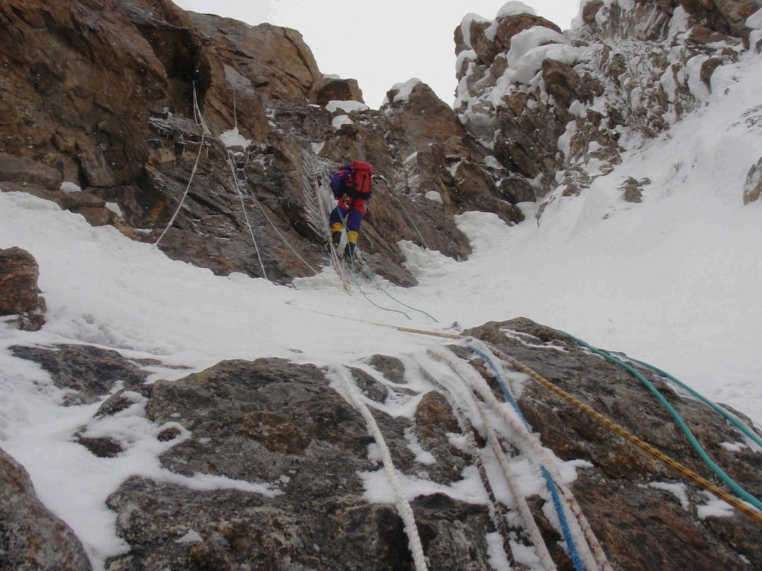 Rick Allen descending the Kinshofer Wall. The many fixed ropes were too frozen to be useful.
