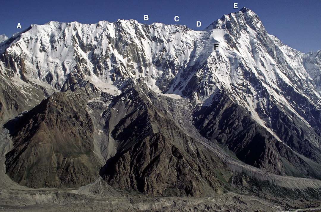 The Mazeno Ridge of Nanga Parbat, Rupal Face to the right. (A) The team acclimatized on the lower ridge before settting off alpine-style. (B) Camp before Mazeno Peak (7,120m), high point of the traverse. (C) The Pinnacles, crux of the traverse. (D) Mazeno Gap, reached on Day 9. (E) After one failed attempt, Al- lan and Allen summited and descended to the north. (F) The remaining team members descended a variant of the Schell Route.