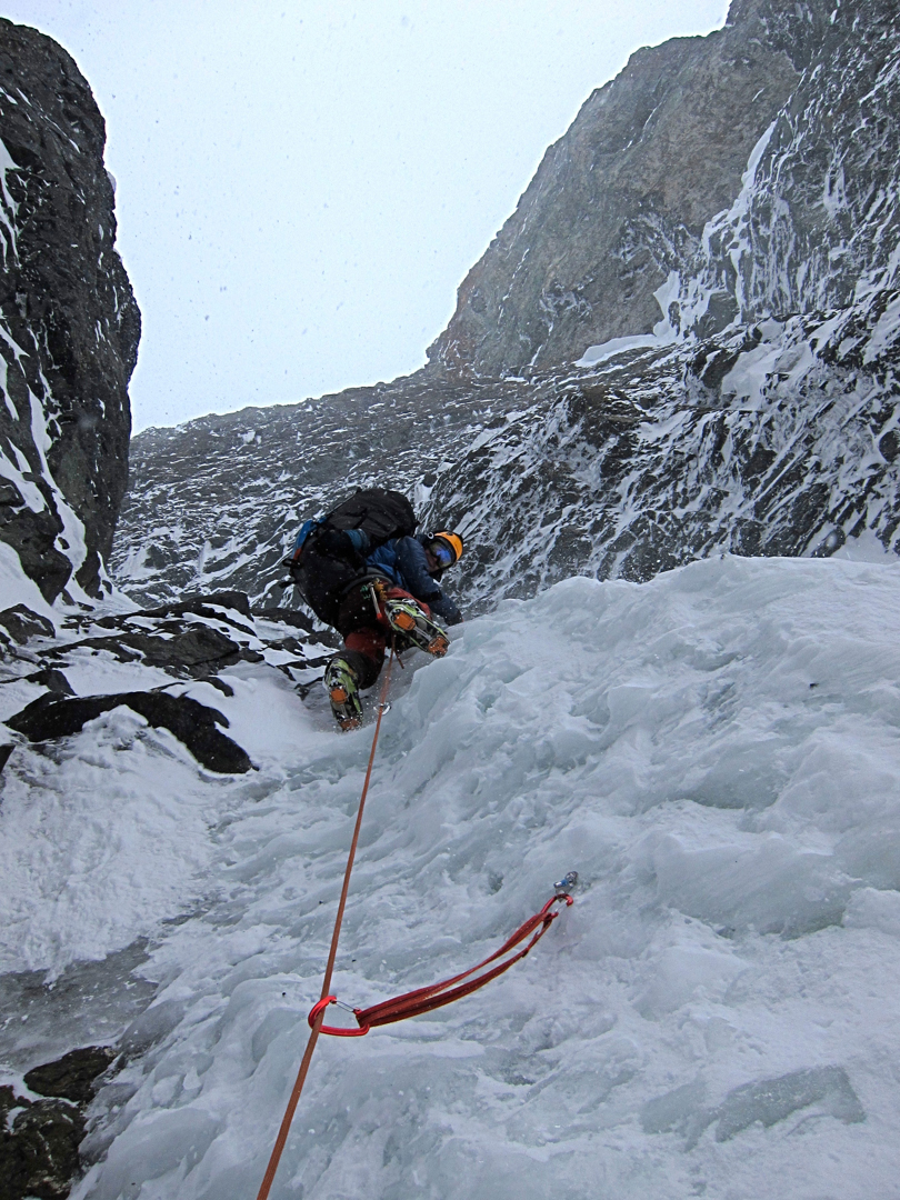 Jay Claus leading alpine ice in the Black Couloir on Peak 11,720'.