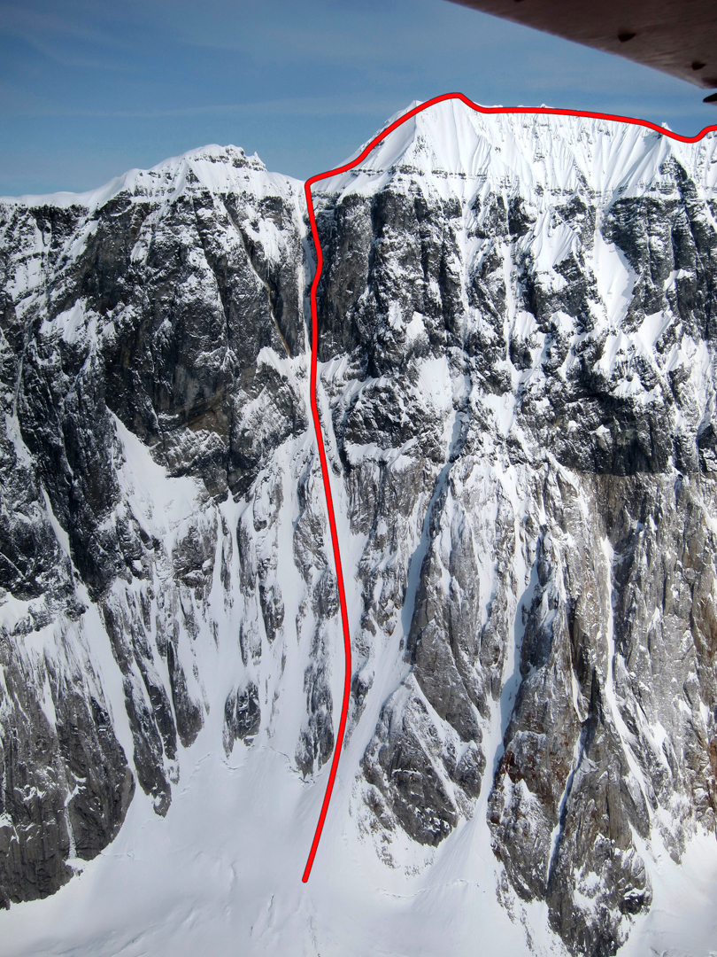 The Black Couloir on the south face of Peak 11,720', which Ditzler and Claus climbed to access Celeno Peak.