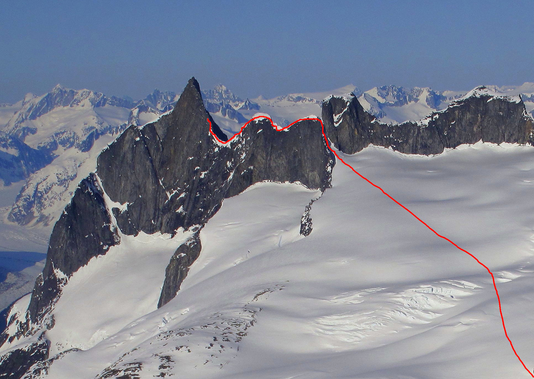 Miller and Cashen's attempt on the unclimbed east ridge.