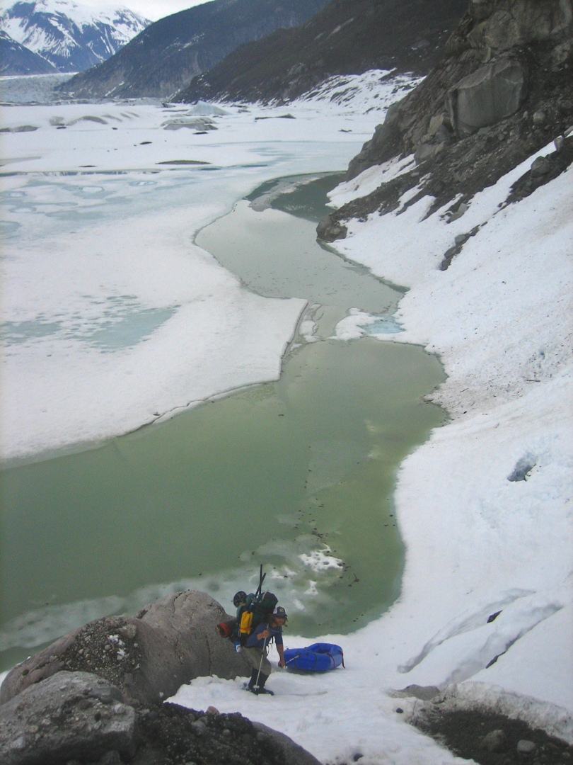 Dropping into Meade Glacier Lake