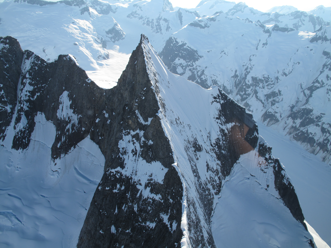 The striking Horn Spire, as seen from the air.