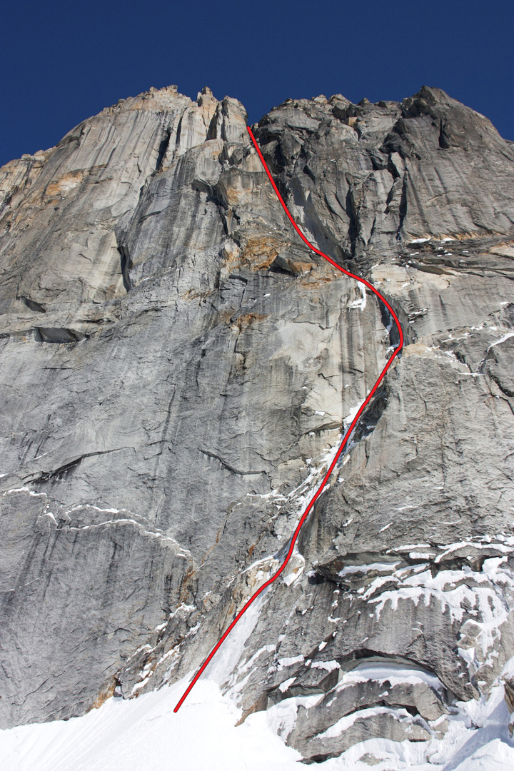 "The northeast aspect of Mt. Bradley, showing Heavy Mettle. Both routes follow sustained ""s'nice"" with difficult mixed climbing."