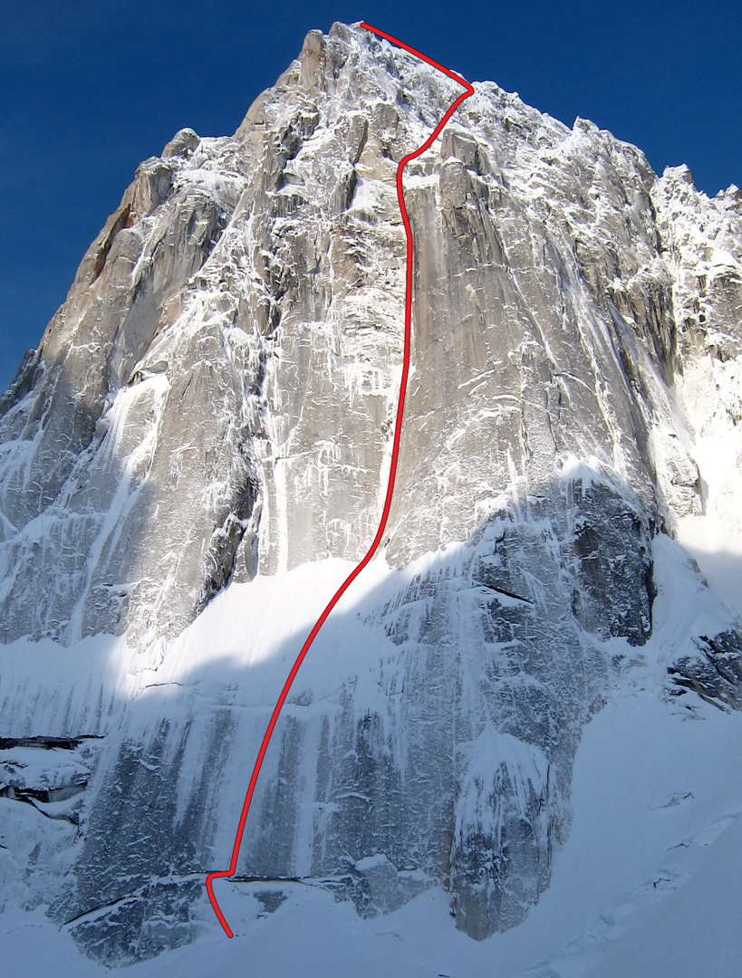 East face of the Bear Tooth, showing Bear Skin, with its thinly iced slabs visible down low.
