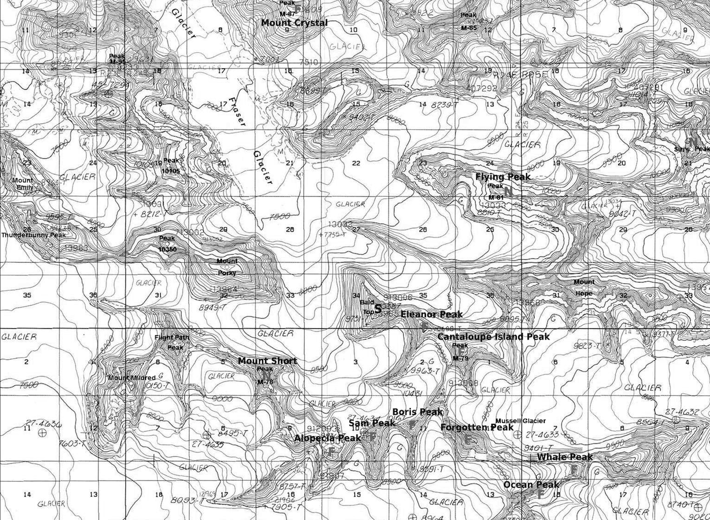 """Fraser and Jefferies Glaciers with first ascents marked by """"F"""", new routes by """"N"""", and other summits by """"S""""."""