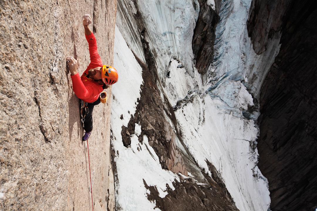 Thomas Huber climbing.
