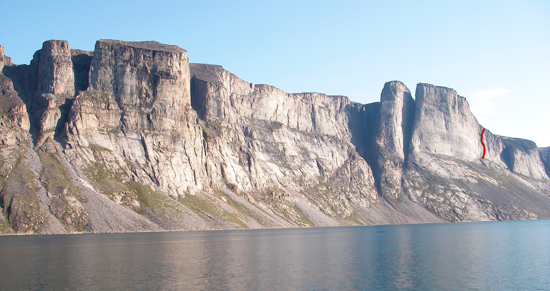 White Bay, east coast of Baffin Island. Polar Molar is on the far right. There is only one route on this entire section of coastal cliffs.