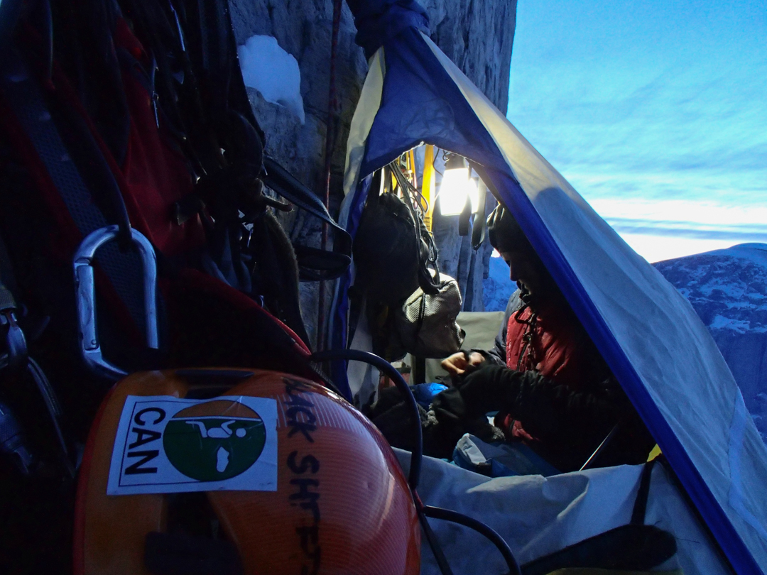 Camp on the upper headwall.