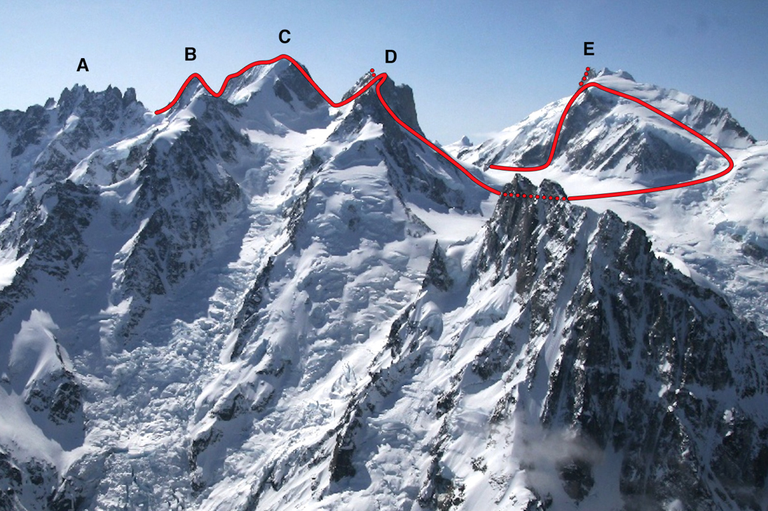 Waddington Peaks: (A) Serra 5 (B) Mt. Asperity (C) Mt. Tiedemann (D) Mt. Combatant (E) Mt. Waddington. Haley traversed the peaks from right to left.