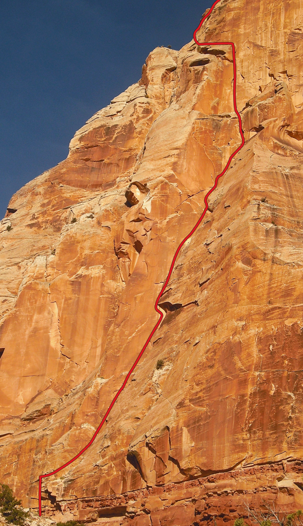 The southeast face of Zoroaster Temple in the Grand Canyon, showing the new five-pitch route.