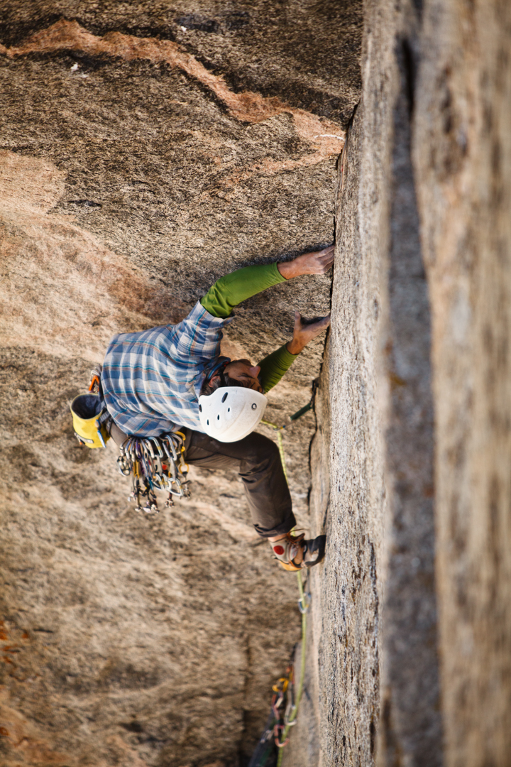 Reed laybacking on Pitch 2 (5.11+).