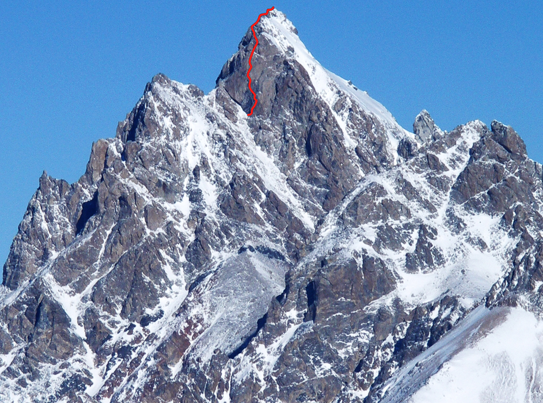 Bean's Wall of Shining Storms, located high on the Grand Teton's southwest face. The difficult seven-pitch route is dedicated to the late Bean Bowers.
