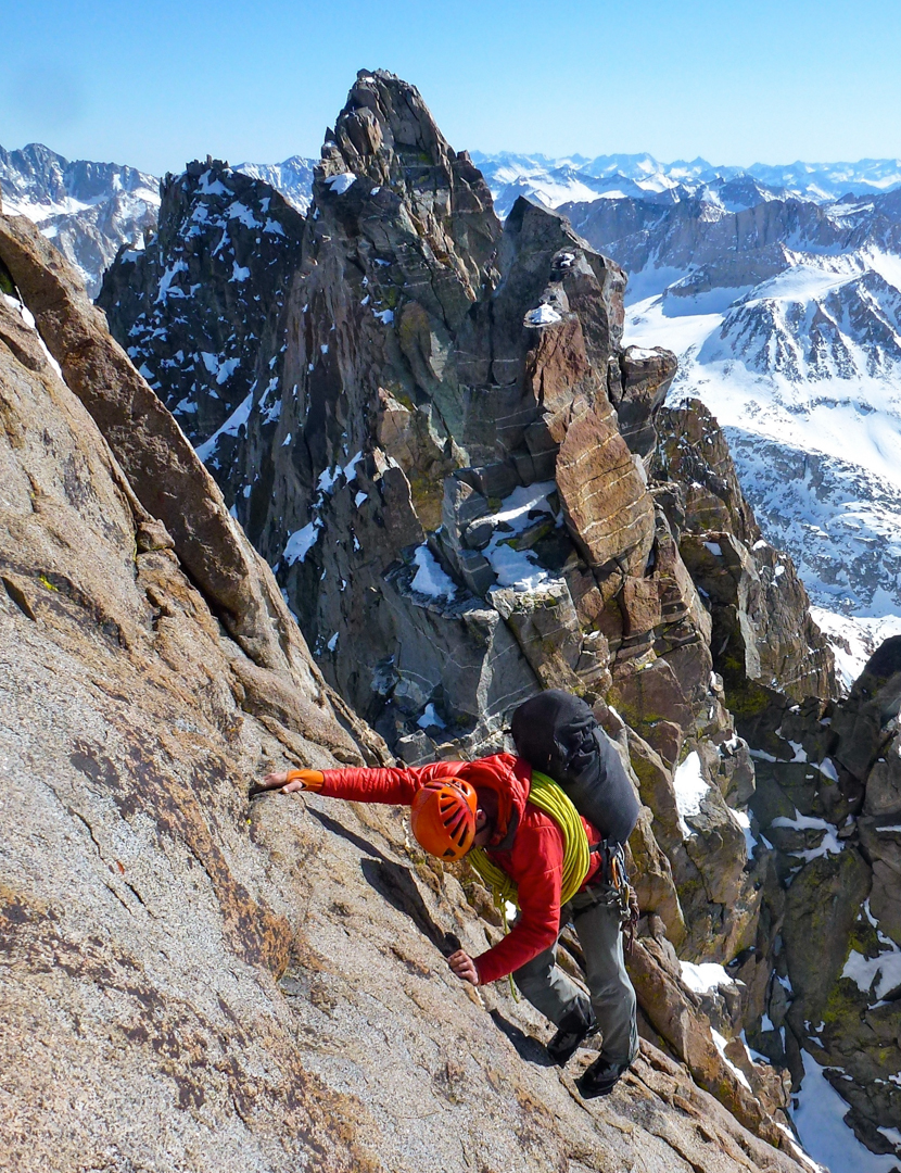 Jediah Porter on the first winter ascent of the complete Palisade Traverse. Likely the longest technical climb in the Lower 48, the Palisade Traverse (not to be confused with the much shorter Thunderbolt to Sill traverse) runs from Southfork Pass to Bishop Pass.