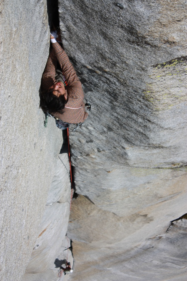 Reed leading the Gil-Wiess Memorial Offwidth on Pitch 4.