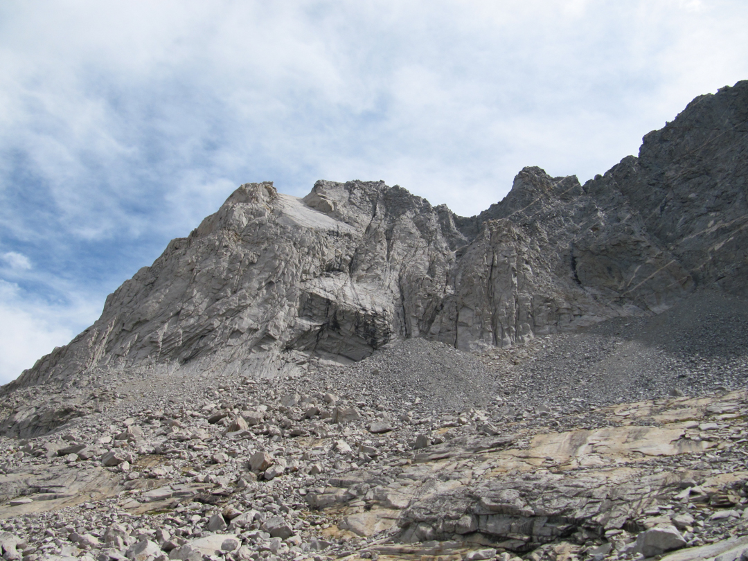Netherworld climbs the east arête (left skyline pictured) of the Cyclorama Wall. The big-wall aspect of Cyclorama Wall lies out of view.
