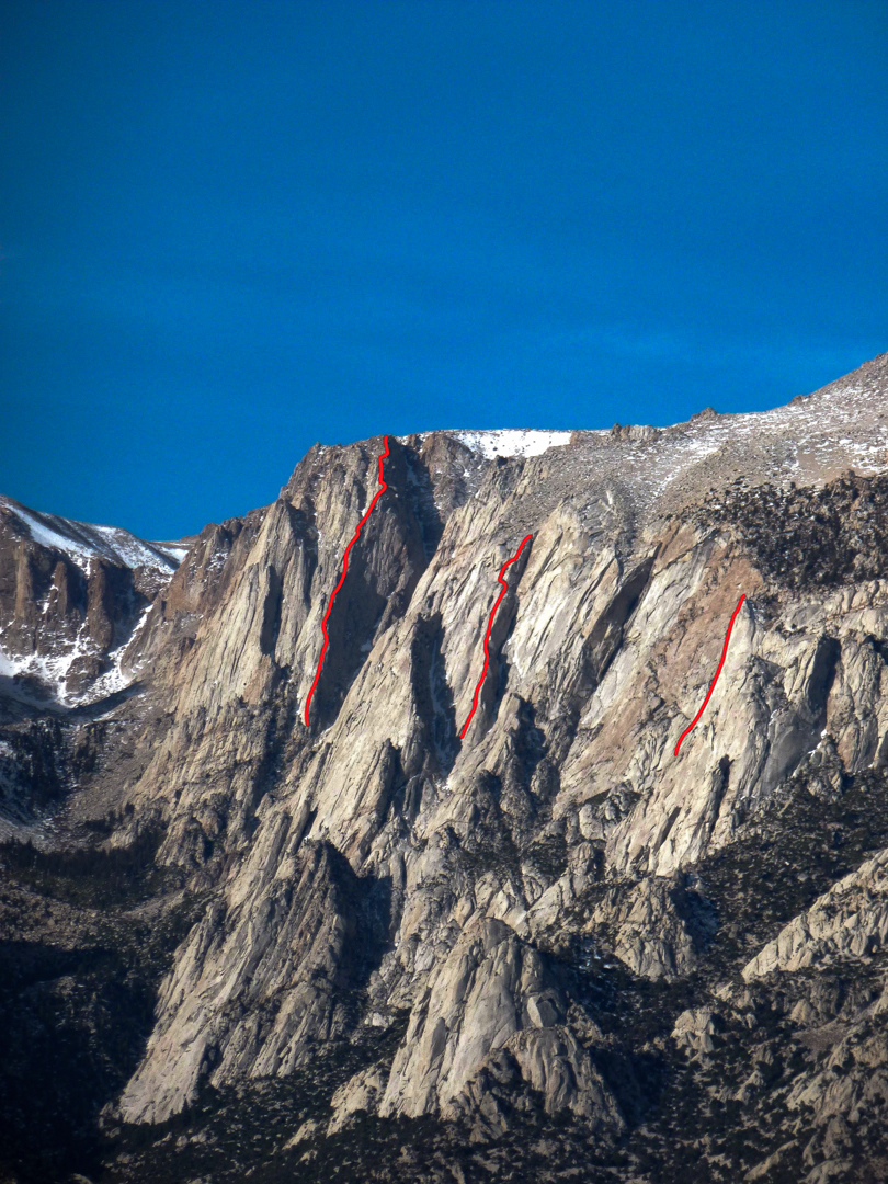 South side of Lone Pine Peak showing routes (left to right): The Forgotten Ridge, The Serrated Ridge, and Pertergio Dieythno.