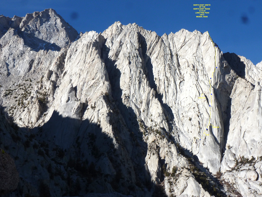 Northeast Arete of the northeast ridge of Lone Pine Peak.