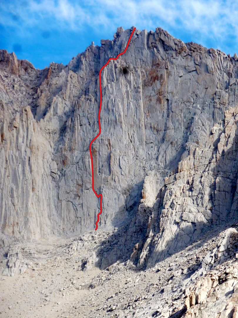 A new route on Mt. Russell's southeast face, at an accessible length and grade.