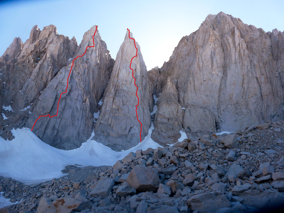 Day Needle (left), showing BCB on the Prow, and Keeler Needle (right), showing Blood of the Monkey, major new routes and link-ups on the Mt. Whitney massif. Moser recommends BCB on the Prow for an all-free attempt.