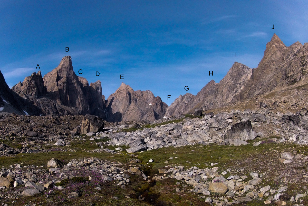 Looking west into the Mythics Cirque from base camp. (A) The Squid. (B) Father Tower (ca 1,350m). (C) Hidden Tower (ca 1,350m), summit not visible. (D) Siren Tower (ca 1,350m). (E) Unnamed tower (ca 1,450m). (F) Tartarus couloir. (G) Prometheus (ca 1,100m). (H) Tantalus (ca 1,250m). (I) Sisyphus (ca 1,200m). (J) Damocles (ca 1,250m).