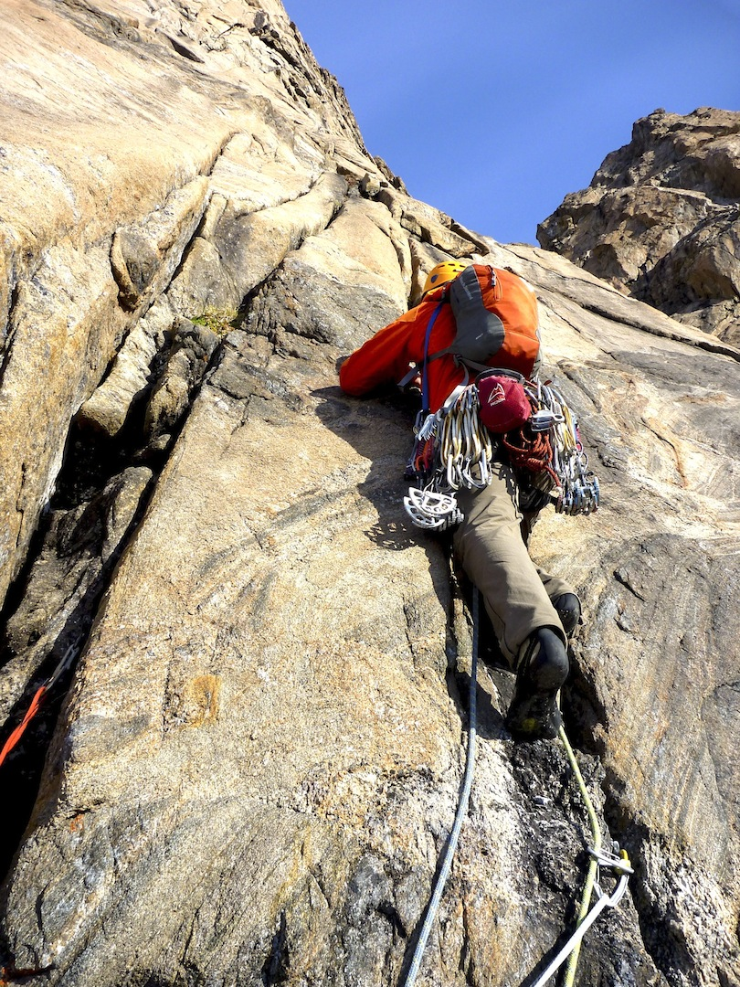 Mike Royer on the fine granite of the south face of Hidden Tower.