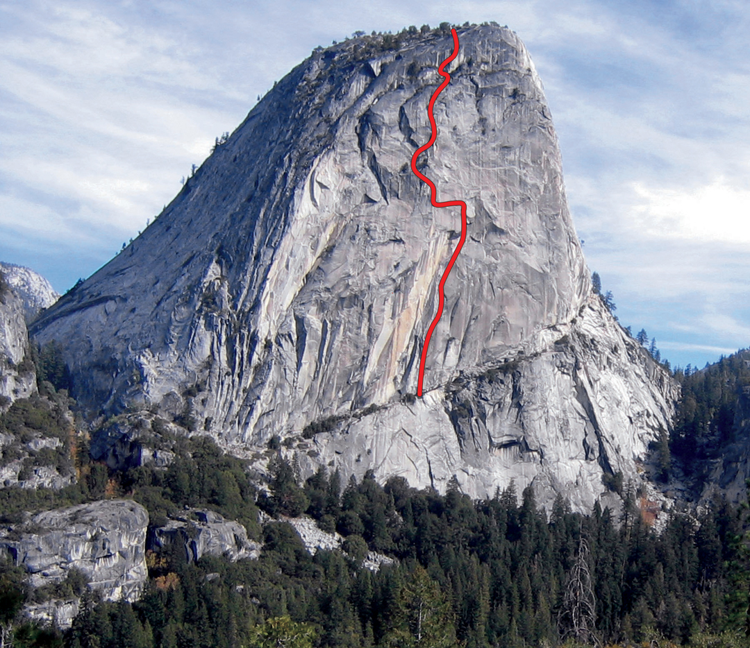 Bad Moon Rising on the southwest face of Liberty Cap. As of May 2013, Cedar Wright and Lucho Rivera had redpointed every pitch but not freed the route in a push.