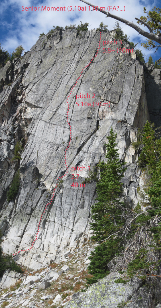 Senior Moment route line. Likely climbed before but unreported.
