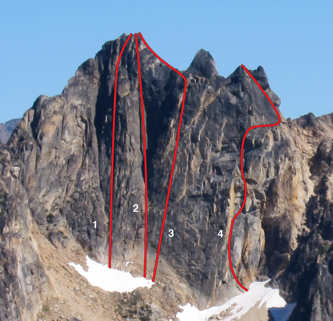 Northwest aspect of the Half Moon massif. (1) Butter Face (III 5.10+ R). (2) Northwest Face (Beckey). (3) Lunar Rubble (Kearney). (4) Diggin' For Dreams (IV 5.11 R).
