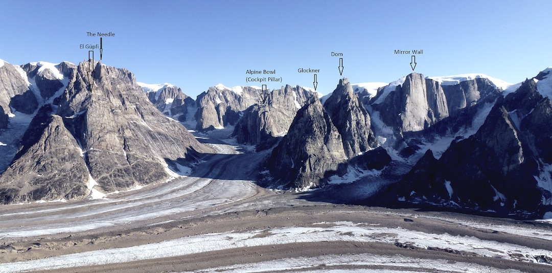 Looking south across the Edward Bailey Glacier into the Alpine Bowl. Walls and summits climbed by the Swiss expedition marked. The flat-topped summit down and left from El Güpfi was climbed (via the couloir to its right) in 2008 by an Irish team. Peaks at the back of the Alpine Bowl were climbed in 2007 and '08.