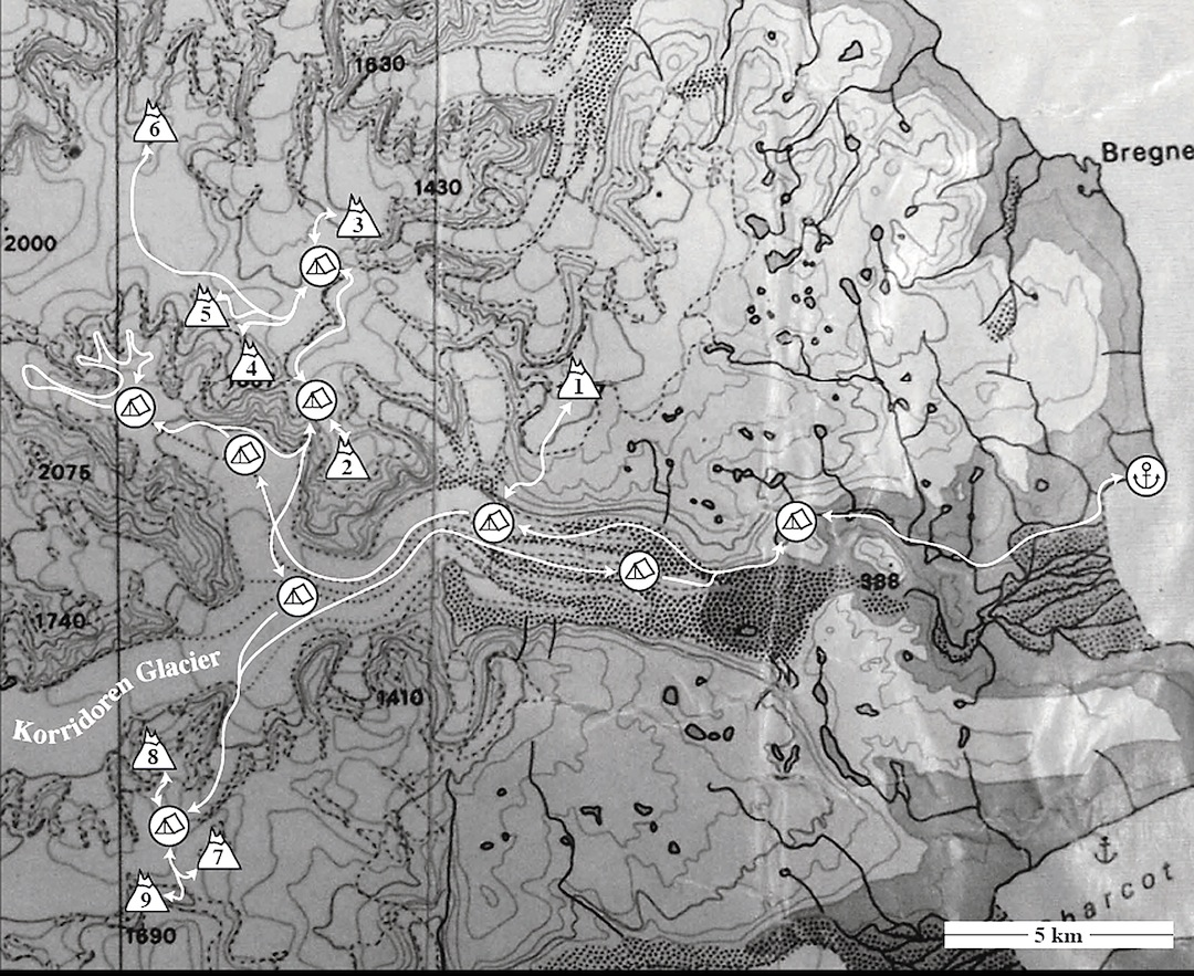 Northeast Milne Land. (1) Locomotive. (2) Calcite Couloir Peaks. (3) Upsicle Peak. (4) Jörmungandr Peak. (5) Fenrir Peak. (6) Igloo. (7) Bird Ridge. (8) Rino's Head. (9) Lion Peak.  Annotated by Christian Veenstra
