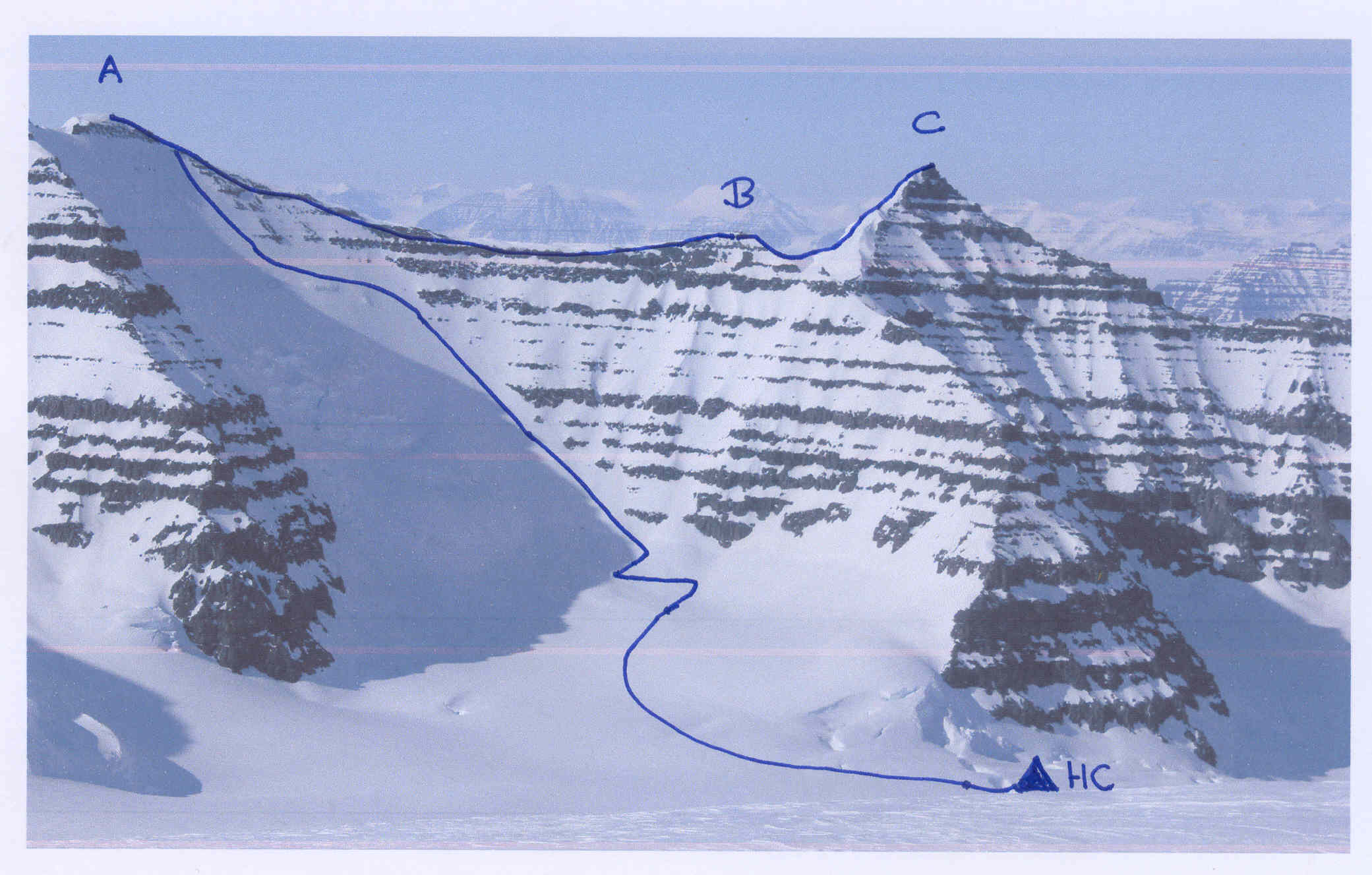 (A) Peak 3,003m, (B) Peak 2,873m, and (C) Peak 2,950m from Peak 3,001m to the east. (HC) is the 2,400m camp on the glacier.