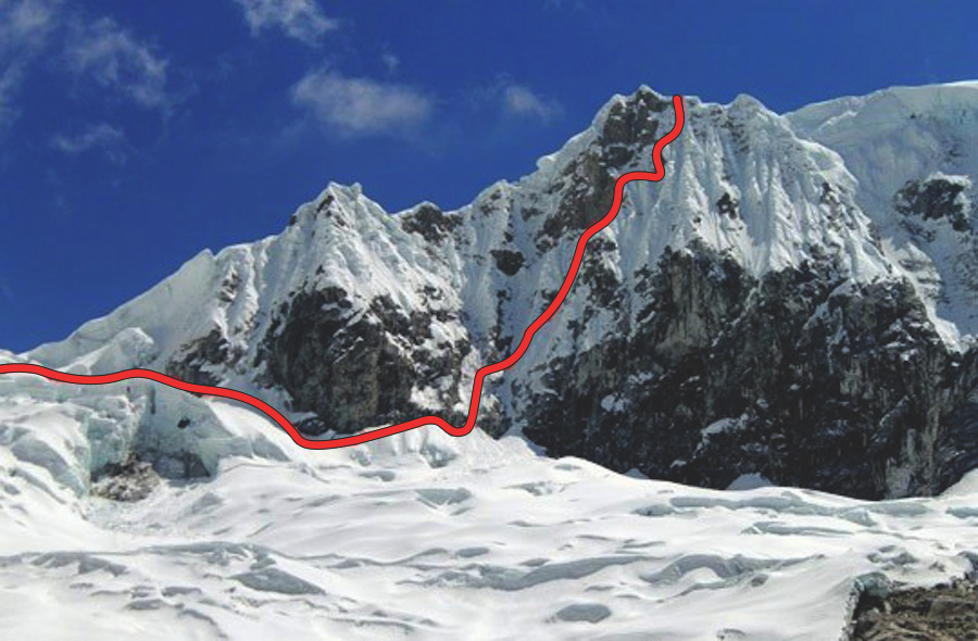 El Camino Secreto de Hermann Kirchner on Pisco's south face. The route climbs to the ridge, and the team used assistance to ascend the final five meters.